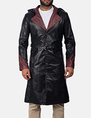 Mens Devil Black Leather Coat