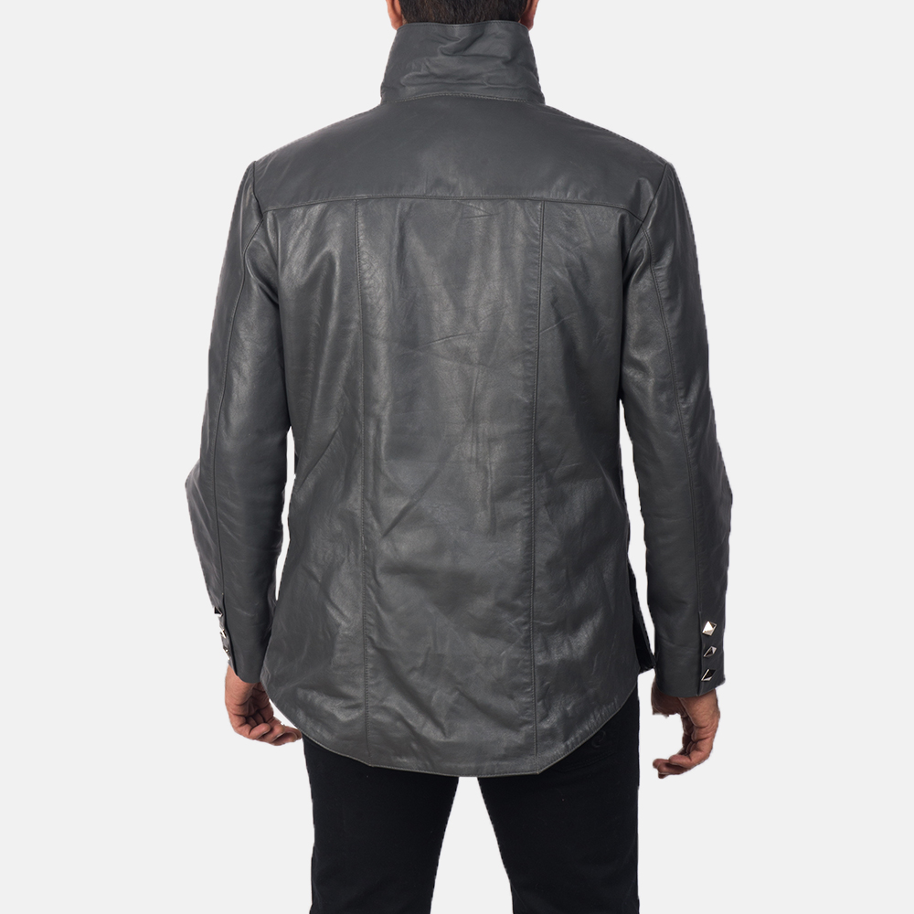 Men's  Adam Grey Leather Jacket 4