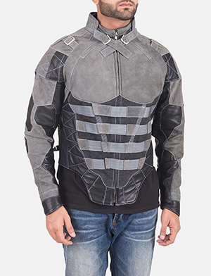 Men's Militia Grey Leather Jacket