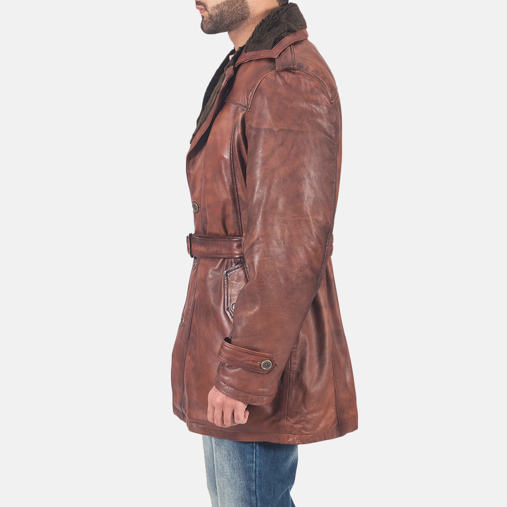 Mens Hunter Brown Fur Leather Coat 5
