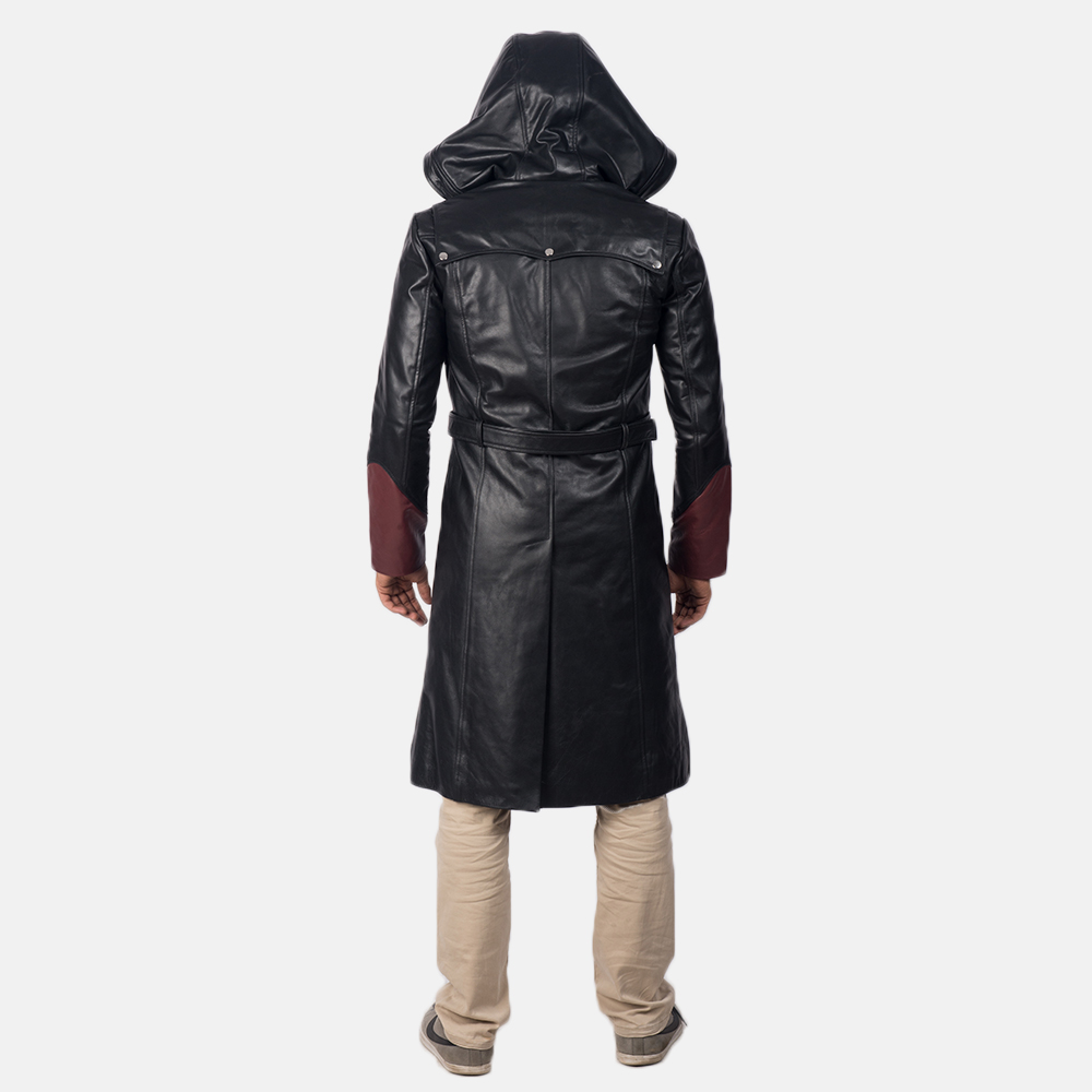 Mens Devil Black Leather Coat 5
