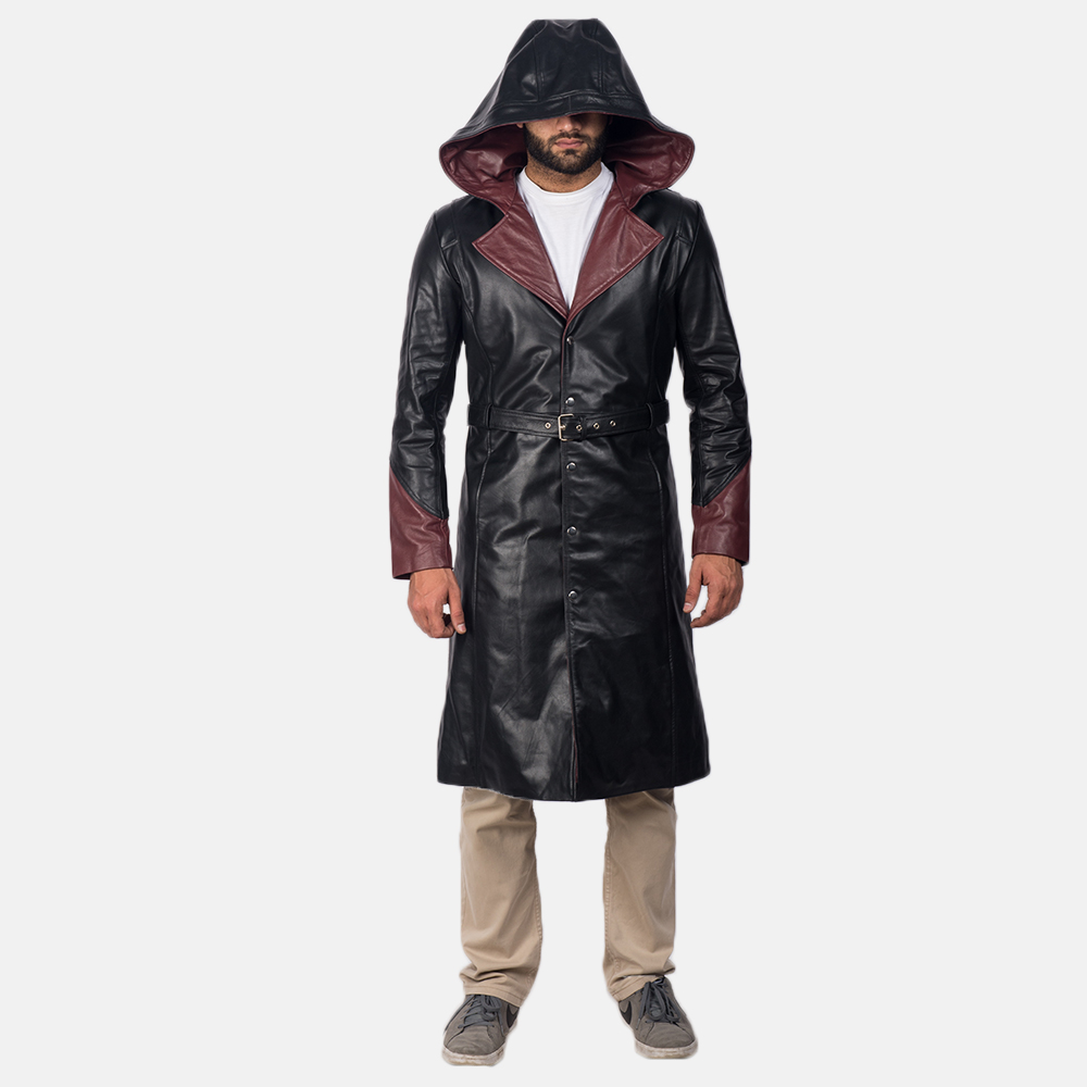 Mens Devil Black Leather Coat 2