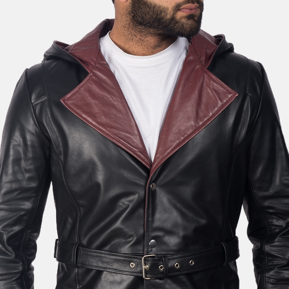 Mens Devil Black Leather Coat 6