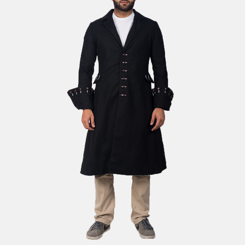 Mens Brady Black Wool Coat 1