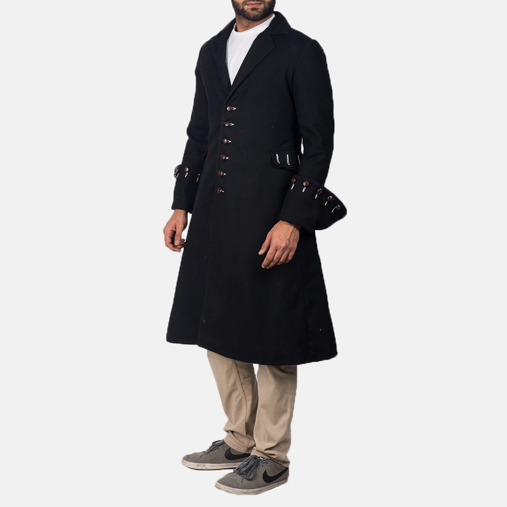 Mens Brady Black Wool Coat 2