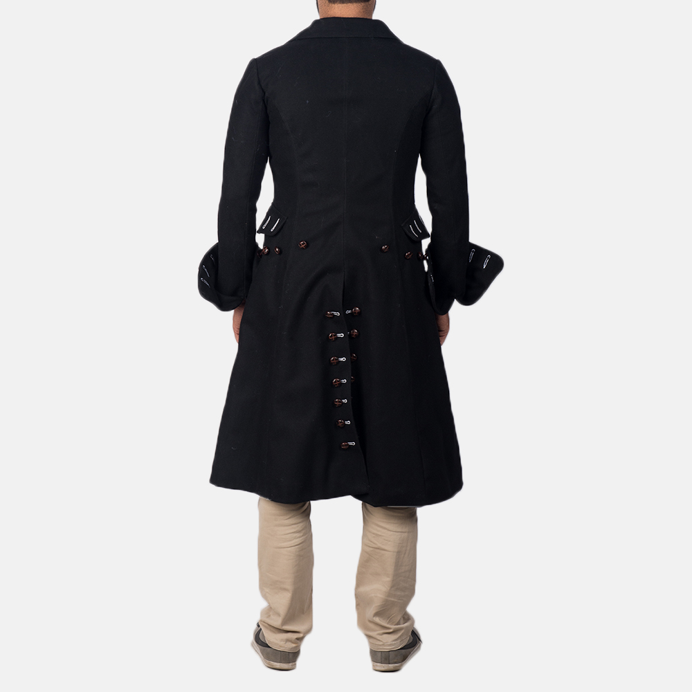 Mens Brady Black Wool Coat 4