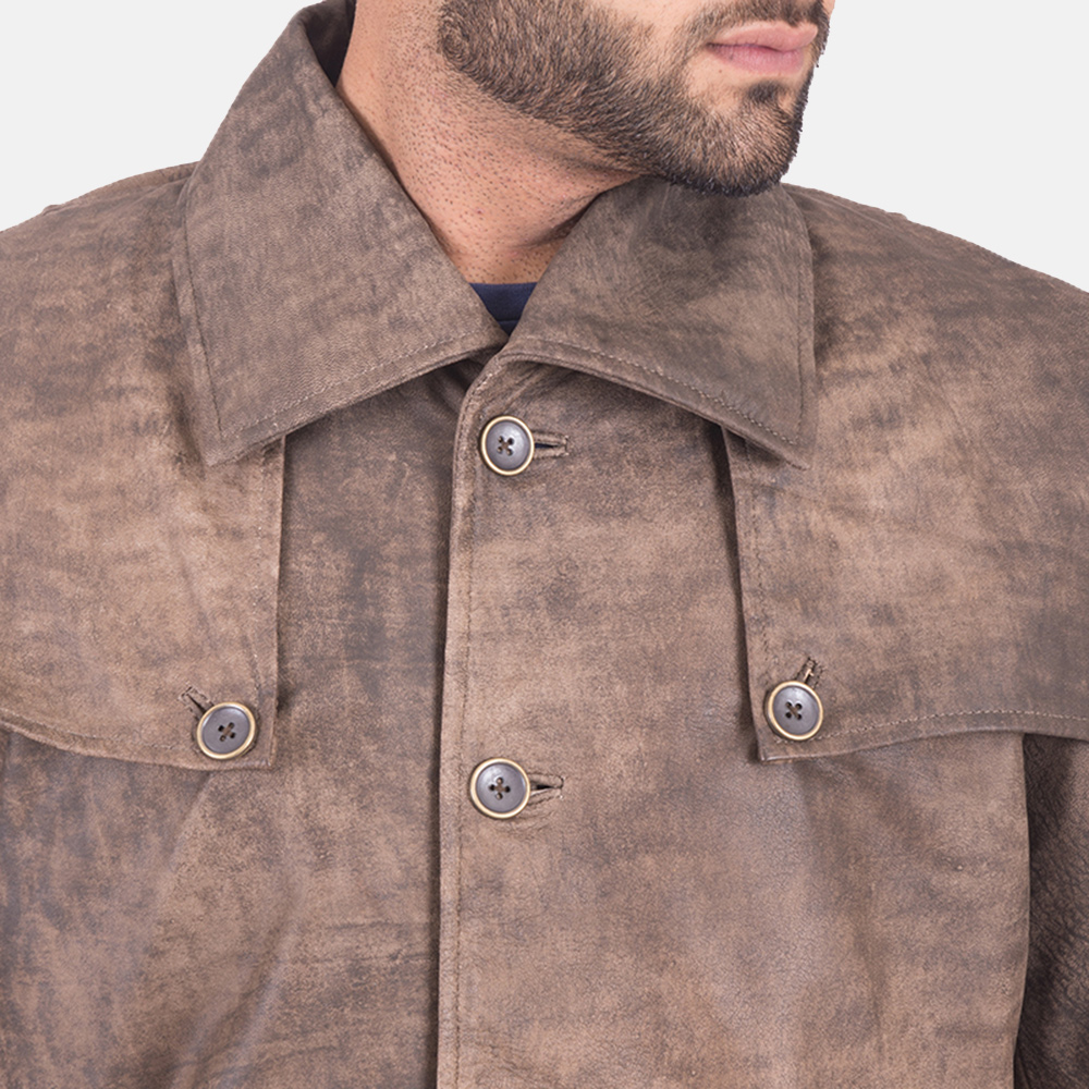 Men's Classic Button Front Army Brown Duster 4