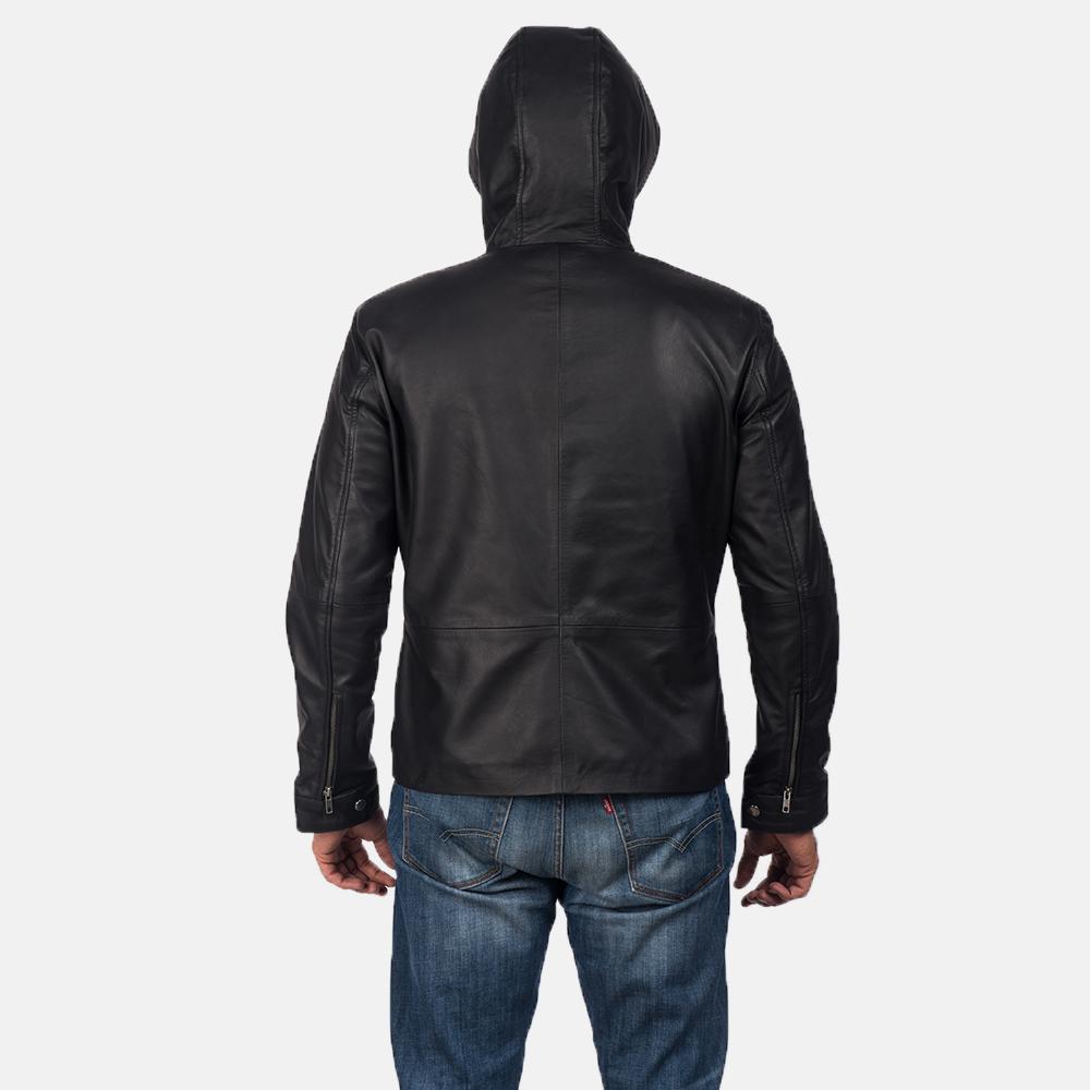 Men's Andy Matte Black Hooded Leather Jacket 4