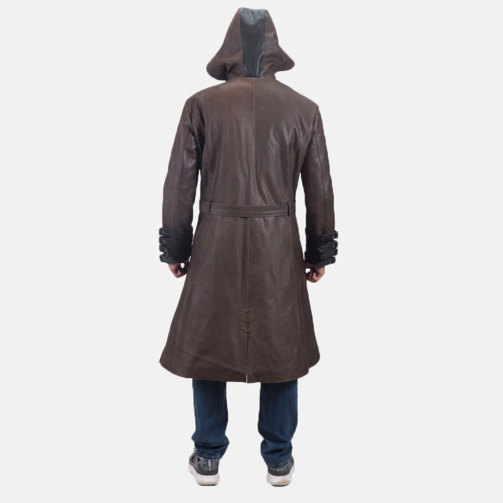 Men's Architect Brown Leather Trench Coat 5