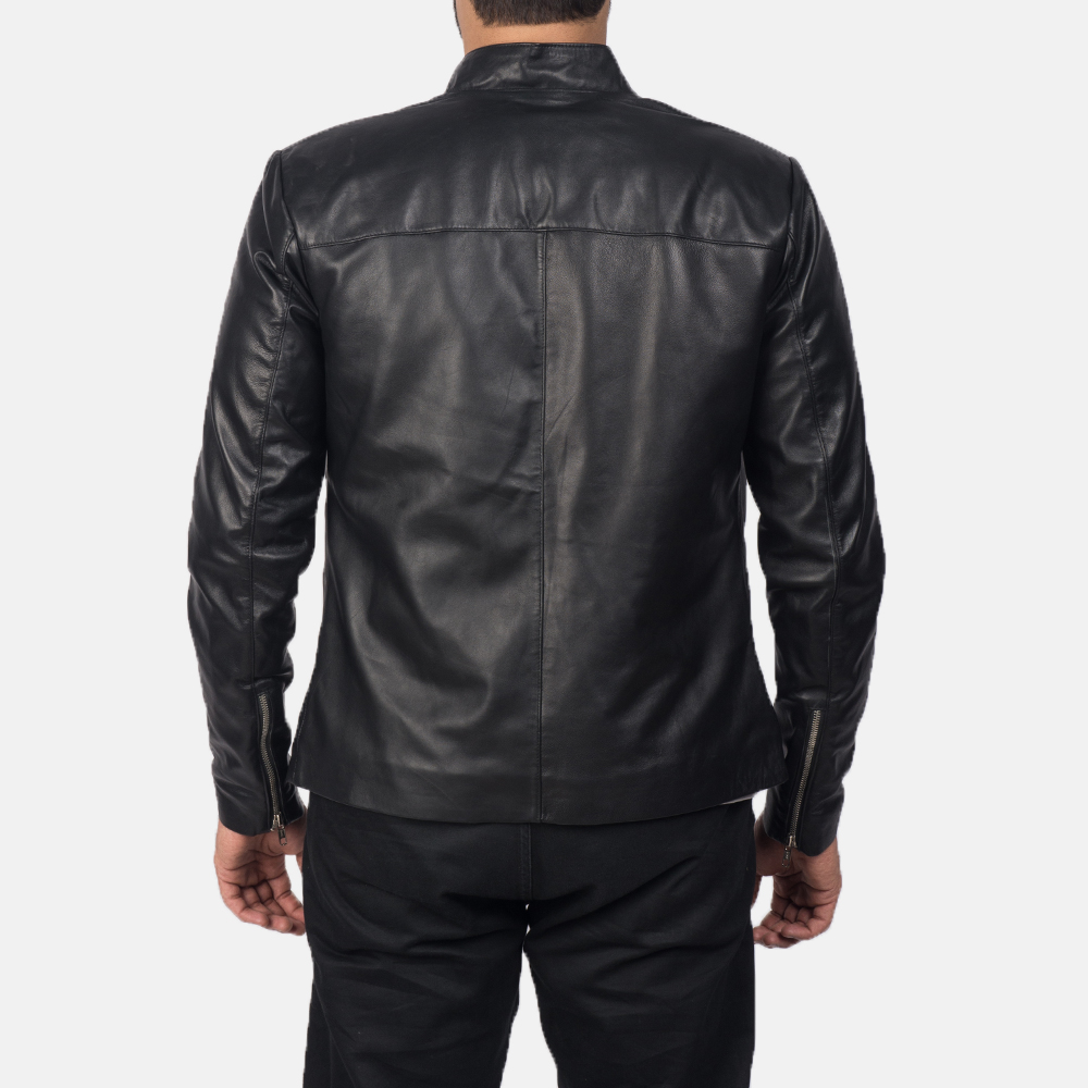 Mens Adornica Black Leather Jacket 4