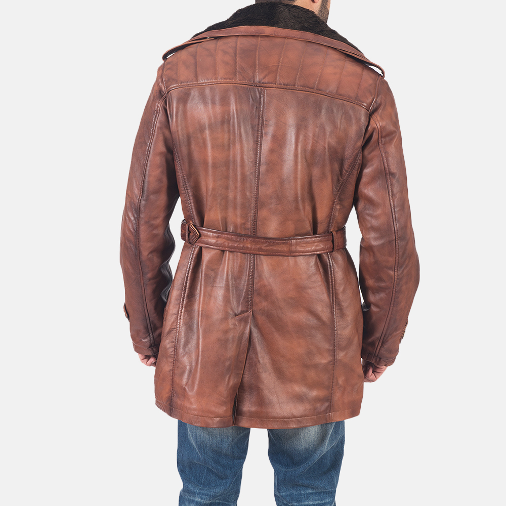 Mens Hunter Brown Fur Leather Coat 6