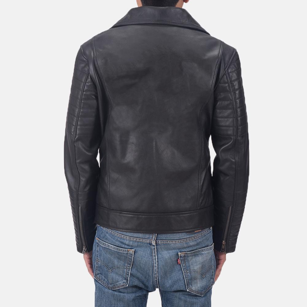Men's Luther Black Leather Biker Jacket 4