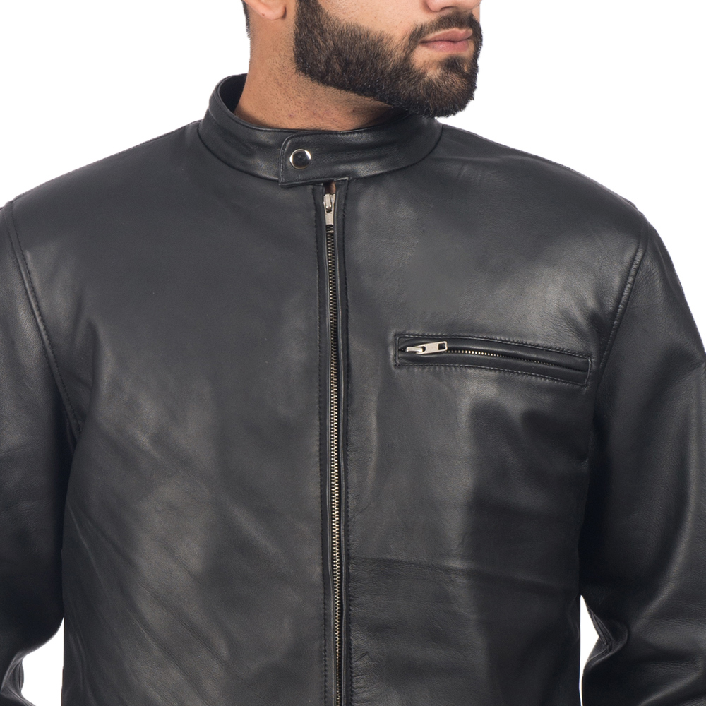 Mens Solemn Black Leather Biker Jacket 6
