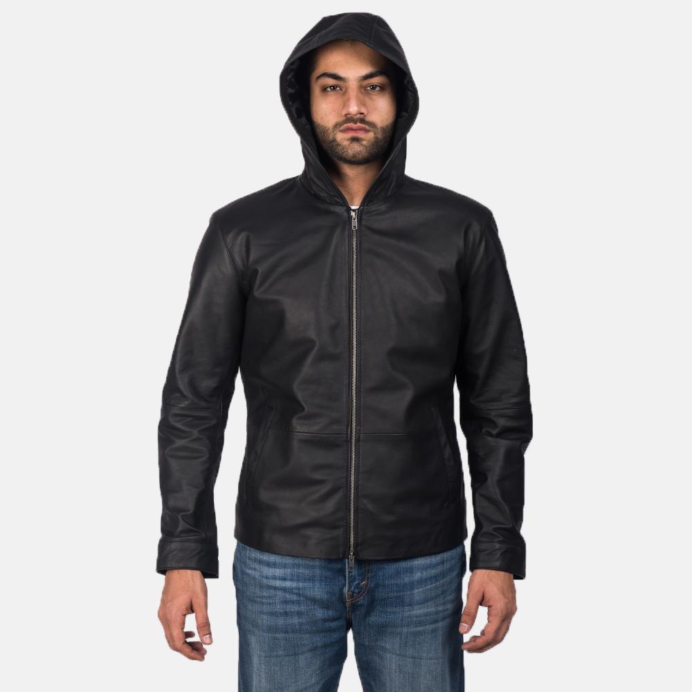 Men's Andy Matte Black Hooded Leather Jacket 7