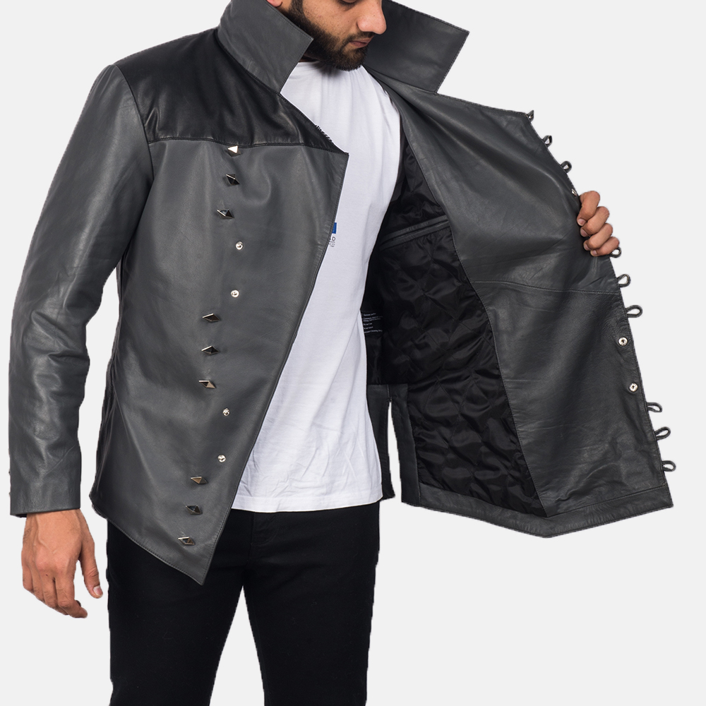 Men's  Adam Grey Leather Jacket 6