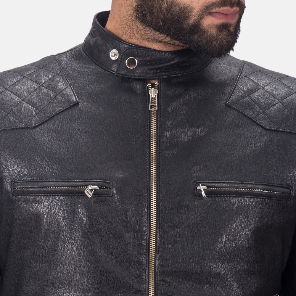 Mens Gatsby Black Leather Biker Jacket 6