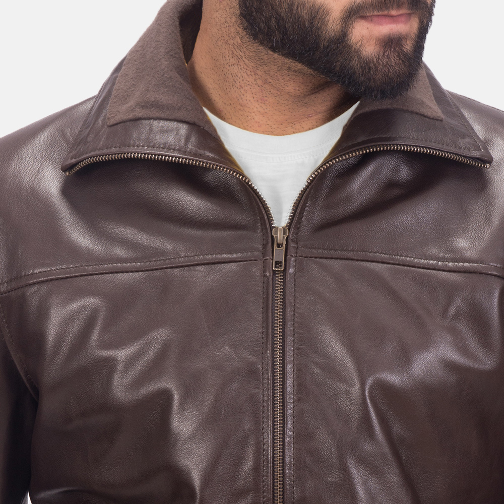 Men's Air Rolf Brown Leather Bomber Jacket 6