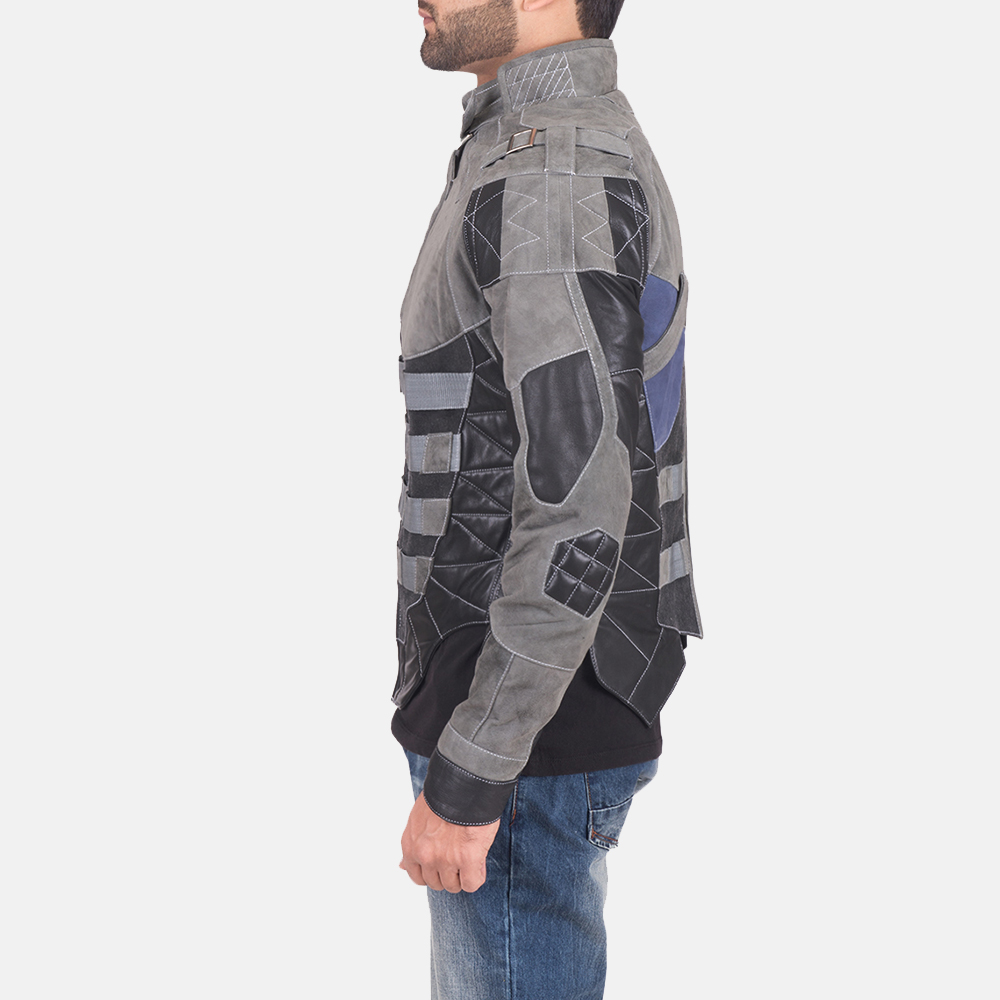 Men's Militia Grey Leather Jacket 4
