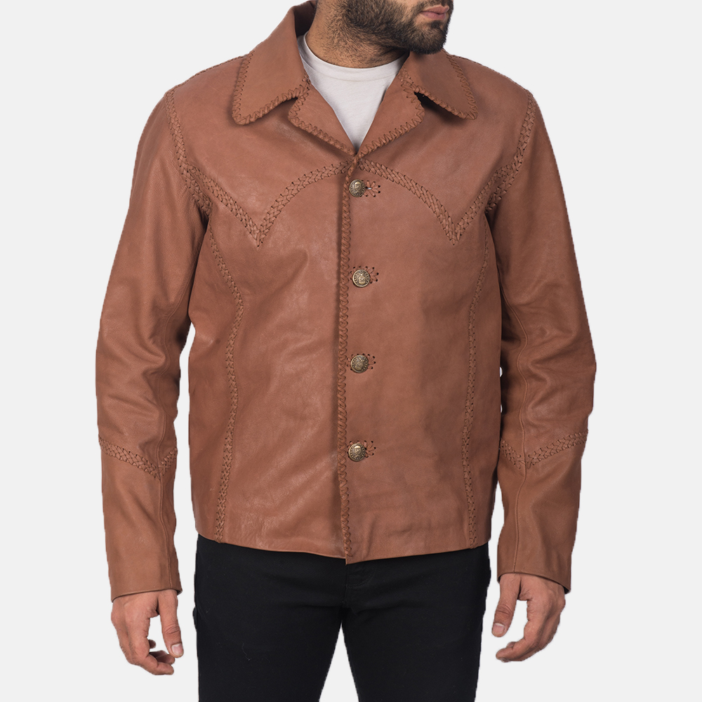 Men's Hayley Vintage Brown Leather Jacket 5