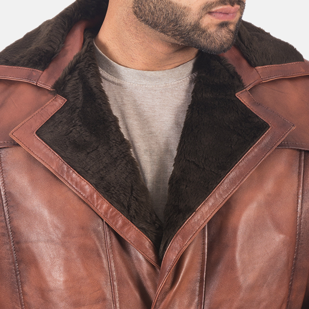 Mens Hunter Brown Fur Leather Coat 3