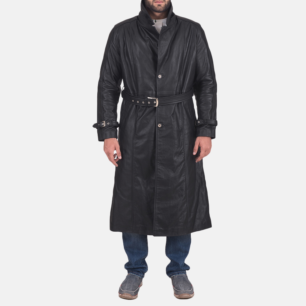 Mens Daniel Black Leather Trench Coat 1