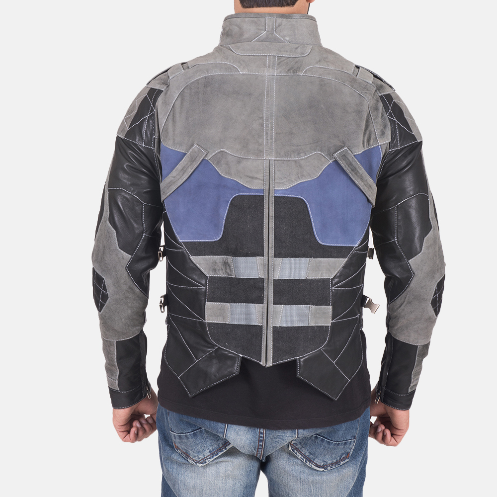 Men's Militia Grey Leather Jacket 5
