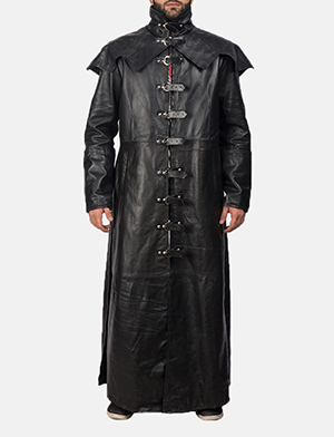 Mens Faisom Black Leather Coat