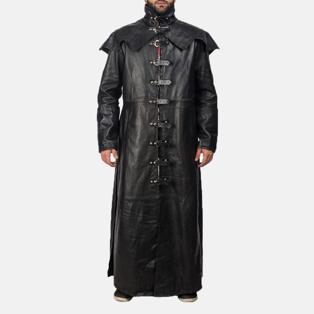 Mens Faisom Black Leather Coat 2