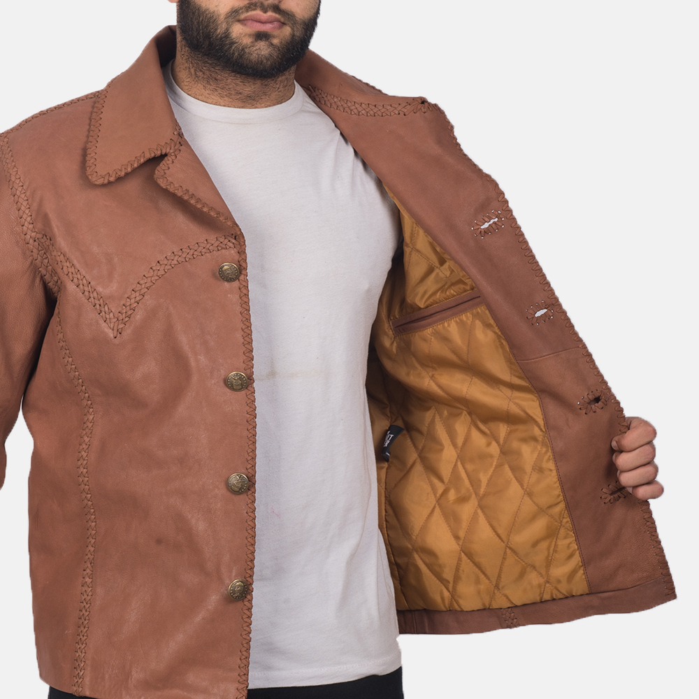 Men's Hayley Vintage Brown Leather Jacket 7