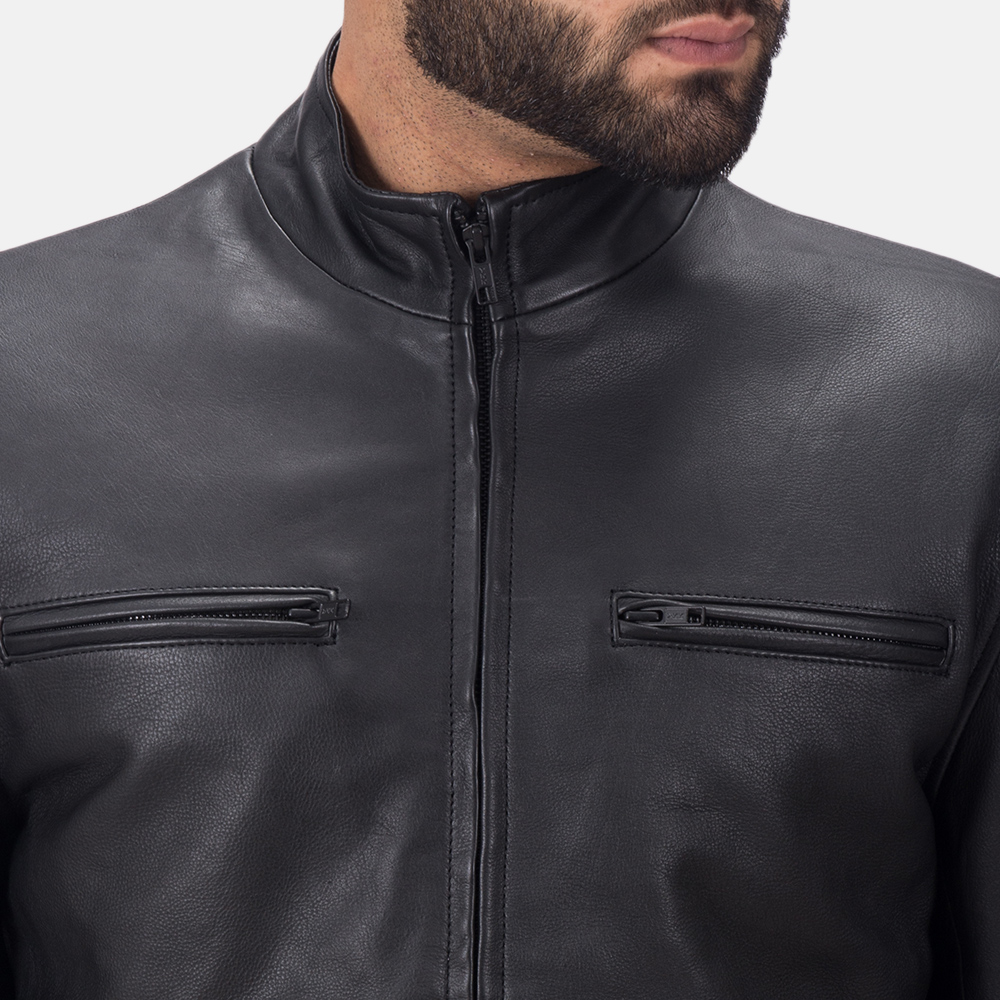 Men's Austere Matte Black Leather Biker Jacket 6