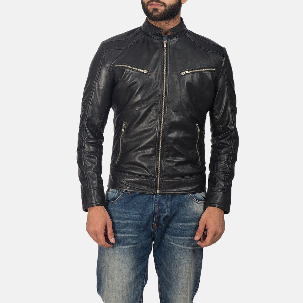 Men's Mack Black Leather Biker Jacket 1