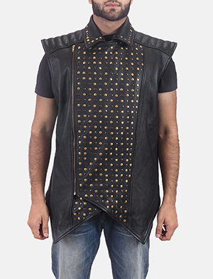Mens Dominio Deval Black Leather Studded Vest