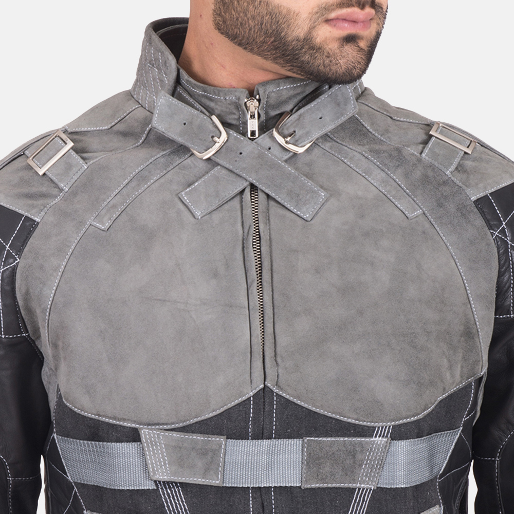 Men's Militia Grey Leather Jacket 6