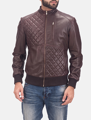 Mens Moda Quilted Maroon Leather Bomber Jacket