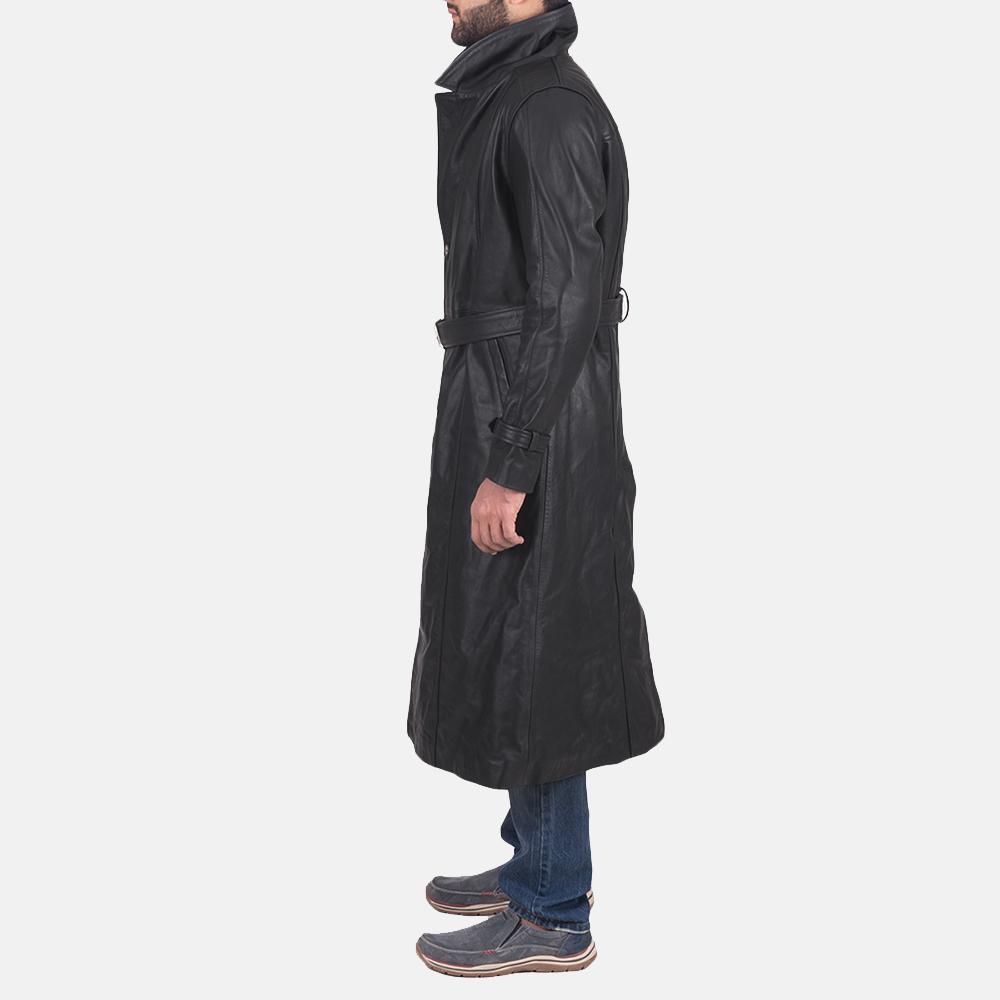 Mens Daniel Black Leather Trench Coat 3