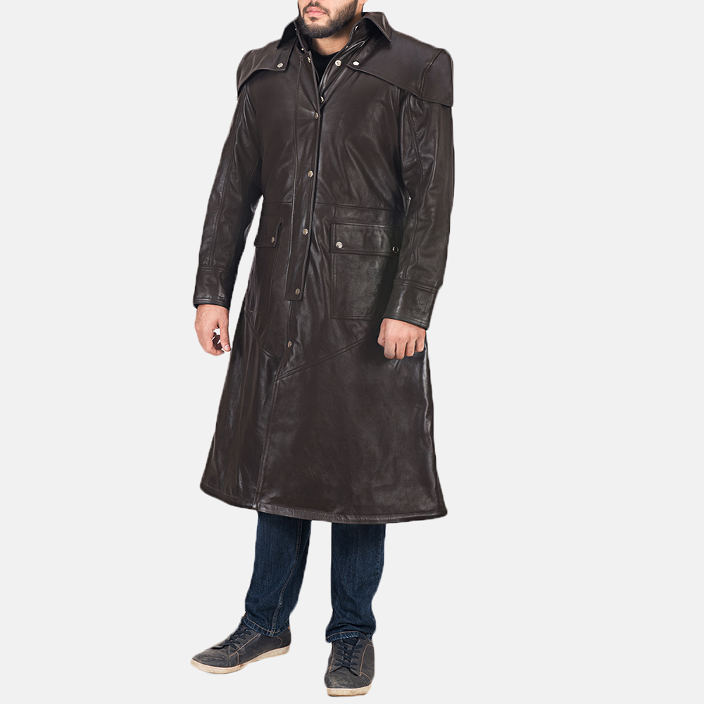 Men's Alexander Brown Leather Duster 2