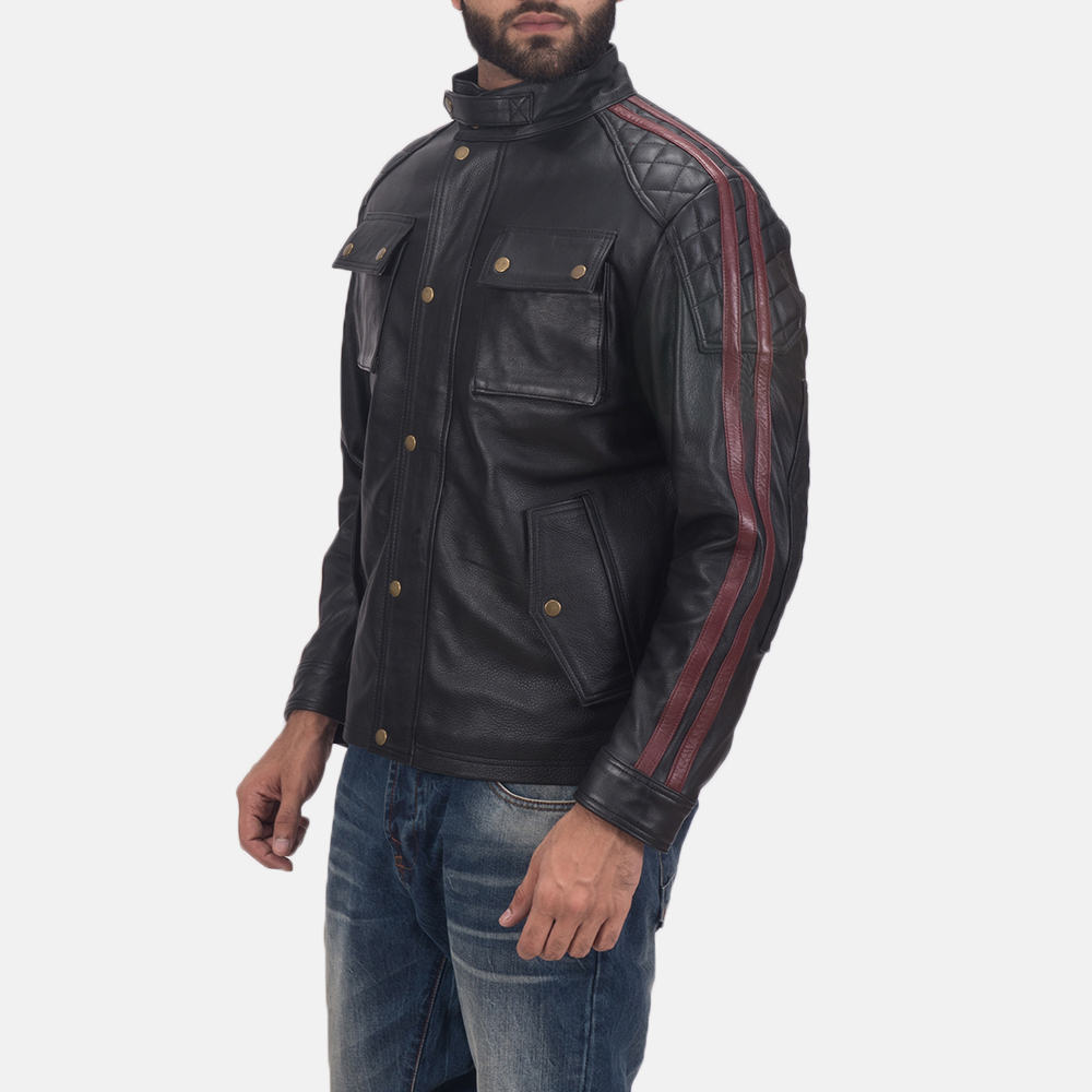 Men's Darren Black Leather Biker Jacket 3