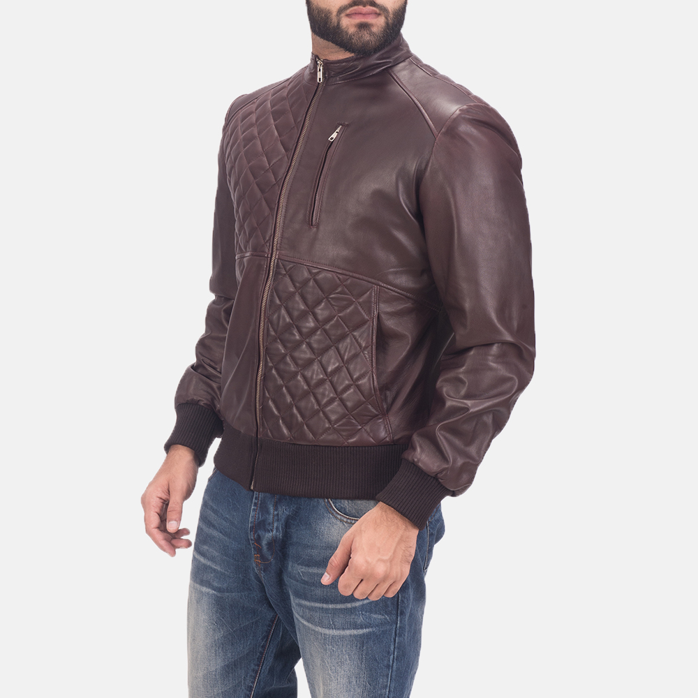 Mens Moda Quilted Maroon Leather Bomber Jacket 4