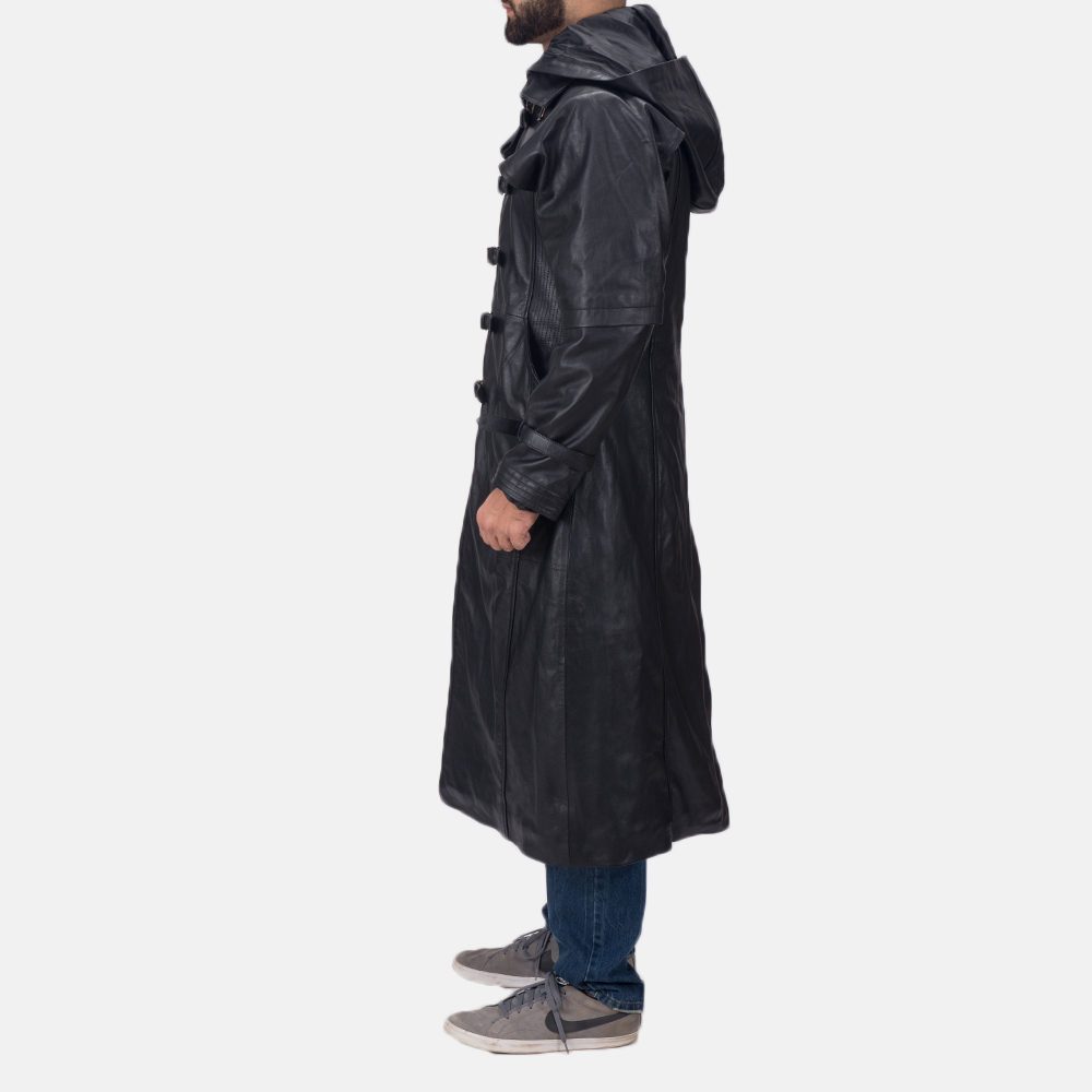 Mens Huntsman Black Hooded Leather Trench Coat