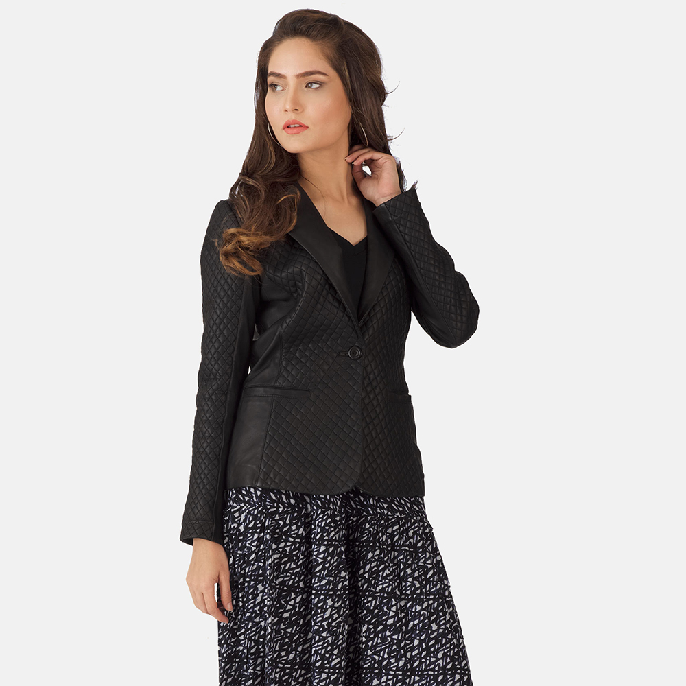 Womens Cora Quilted Black Leather Blazer 2