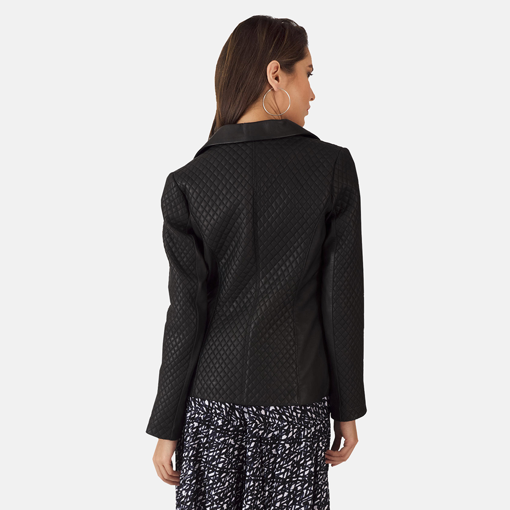 Womens Cora Quilted Black Leather Blazer 3