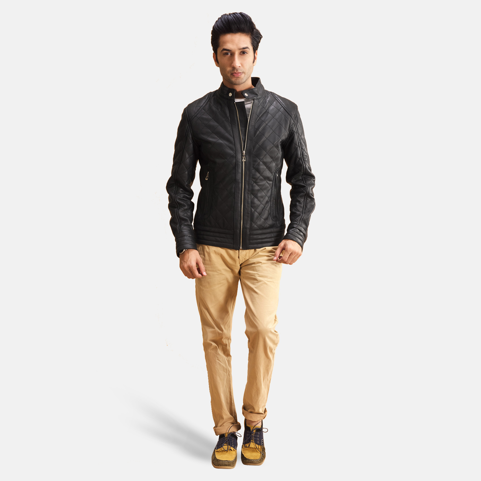 Men's Henry Quilted Black Leather Jacket 3