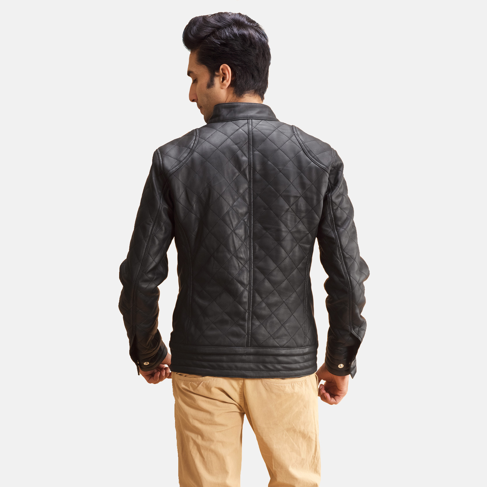 Men's Henry Quilted Black Leather Jacket 4