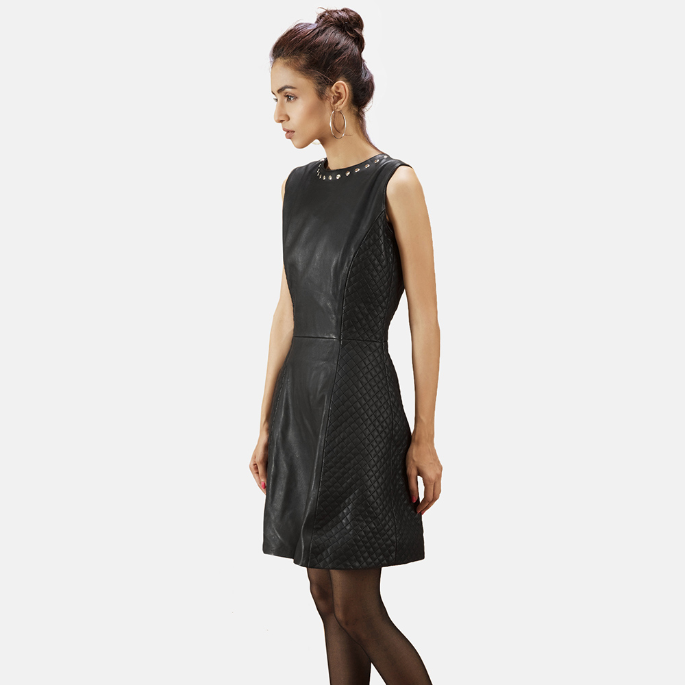 Womens Luxe Black Leather Dress 3