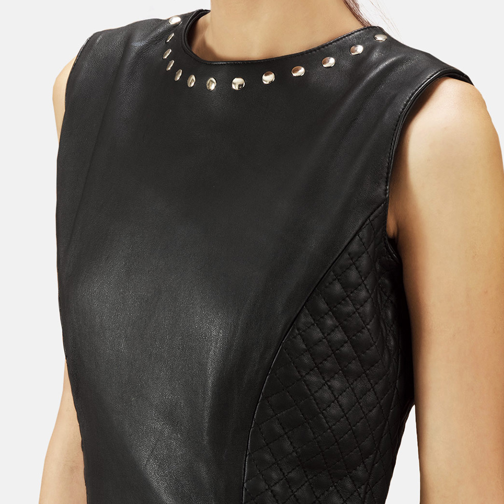 Womens Luxe Black Leather Dress 4