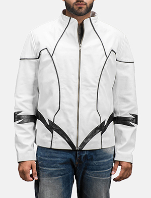 Mens Roboguy White Leather Jacket