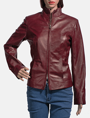 Womens Rumella Maroon Leather Biker Jacket