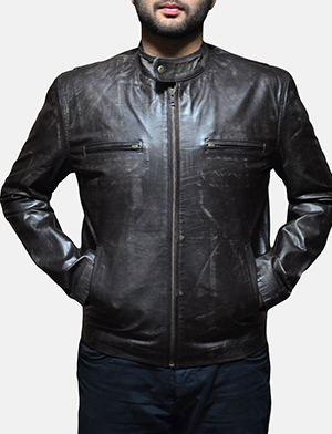 Mens Rustic Brown Leather Biker Jacket