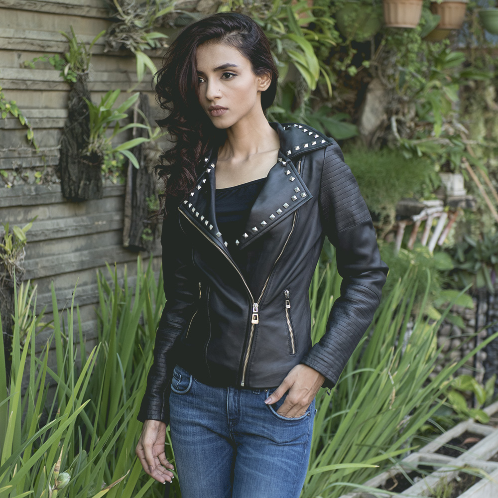 Womens Sally Mae Studded Black Leather Biker Jacket 6