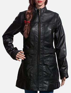 Womens Serene Black Leather Coat